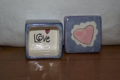 Blue Ceramic Trinket Box w/Heart in Kingwood, Texas